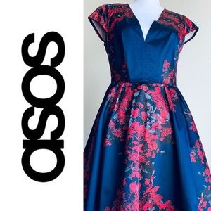 ASOS Navy Blue Floral Cocktail Dress w/ Deep Vneck